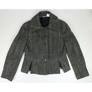 Barneys New York Black White Wool Silk Blend Coat